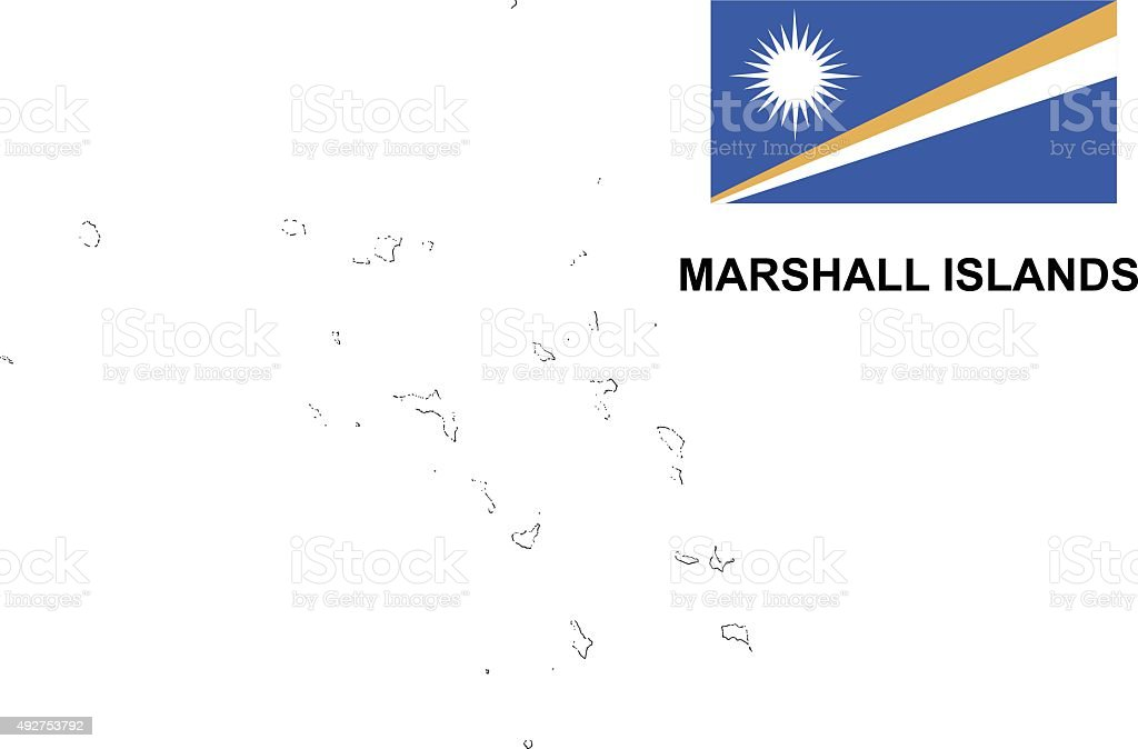 Marshall Islands map vector, Marshall Islands flag vector, isolated vector art illustration