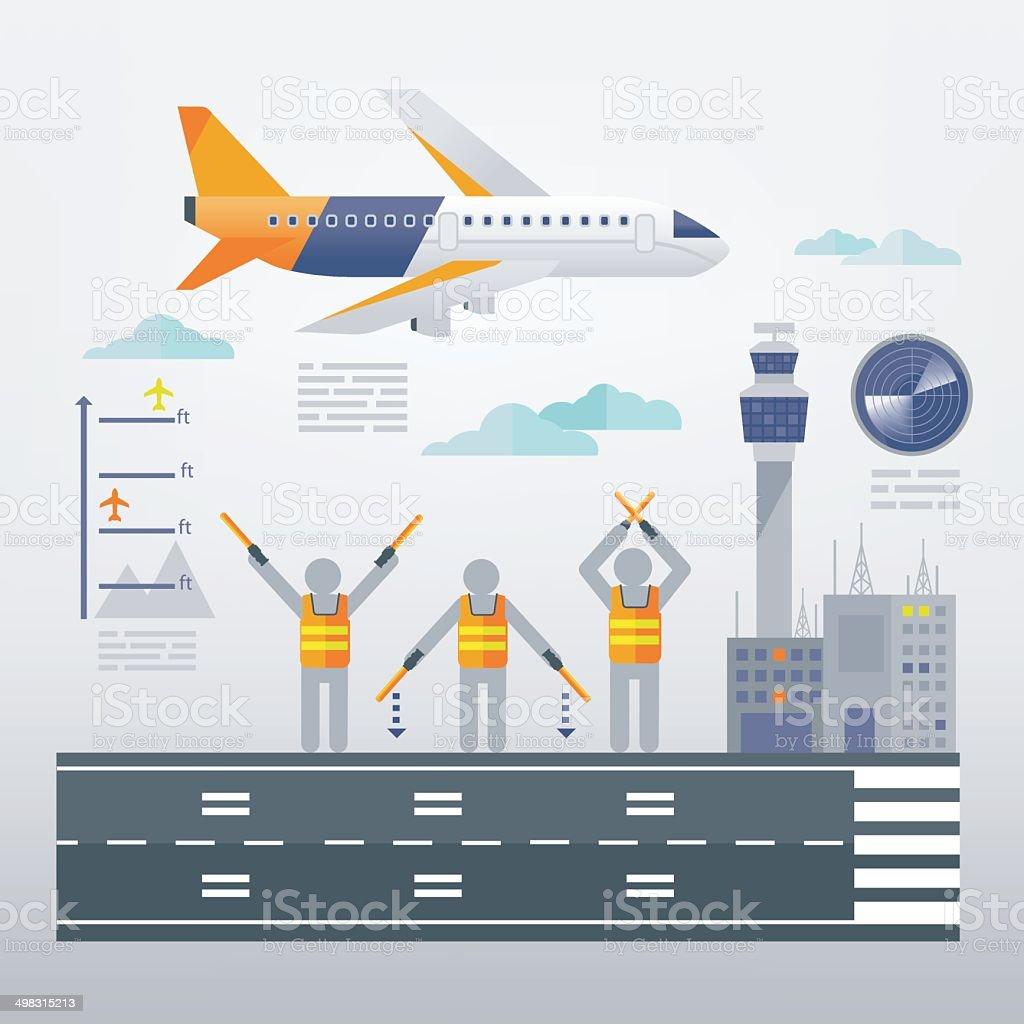 Marshalling Signals vector art illustration