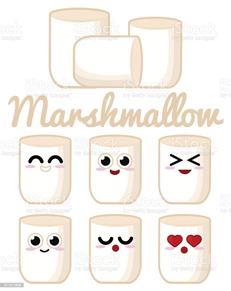 Marshmallow character vector art illustration