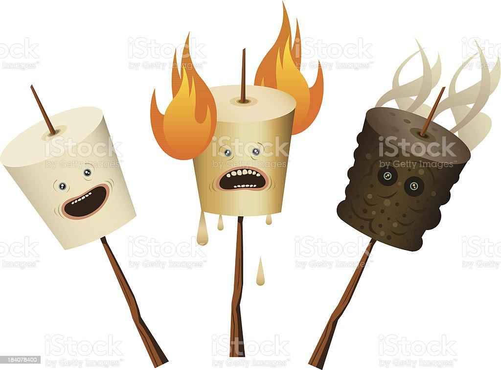 Marshmallow Characters vector art illustration