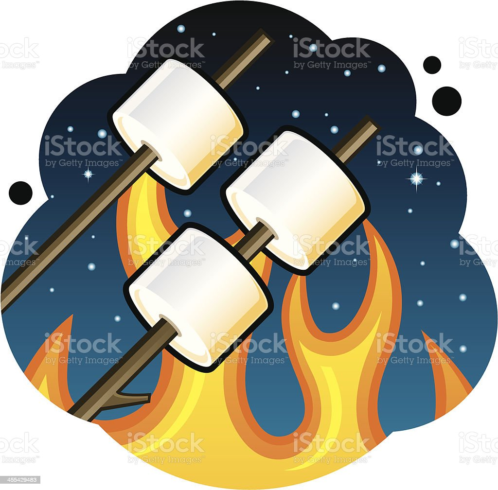 Marshmallow Roast vector art illustration