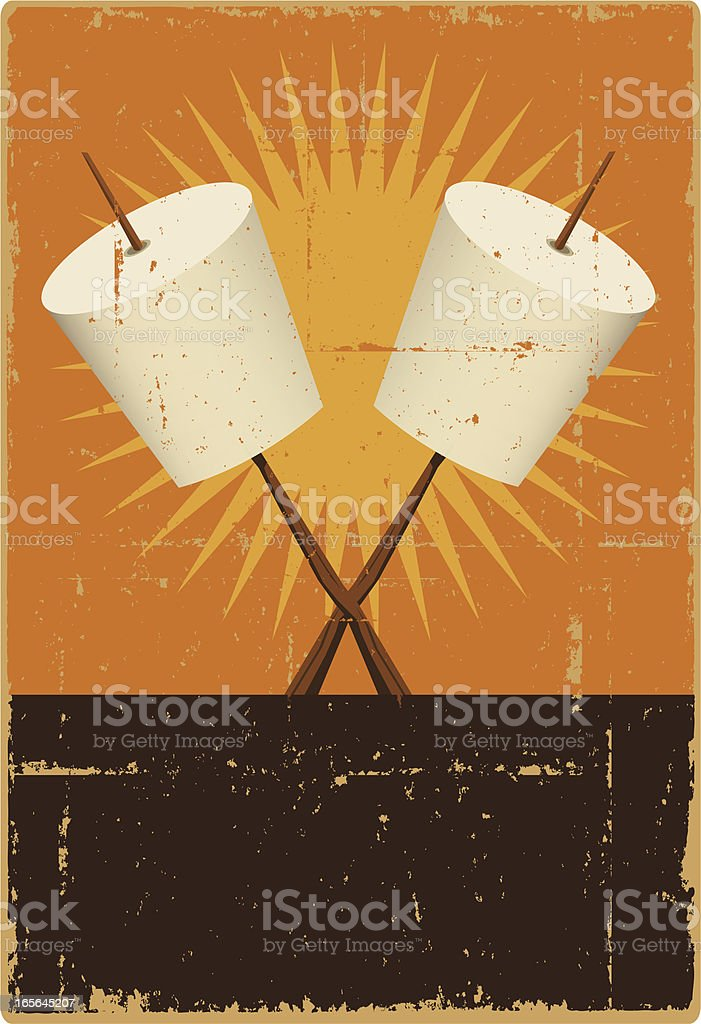 Marshmallow Roasting Sign vector art illustration