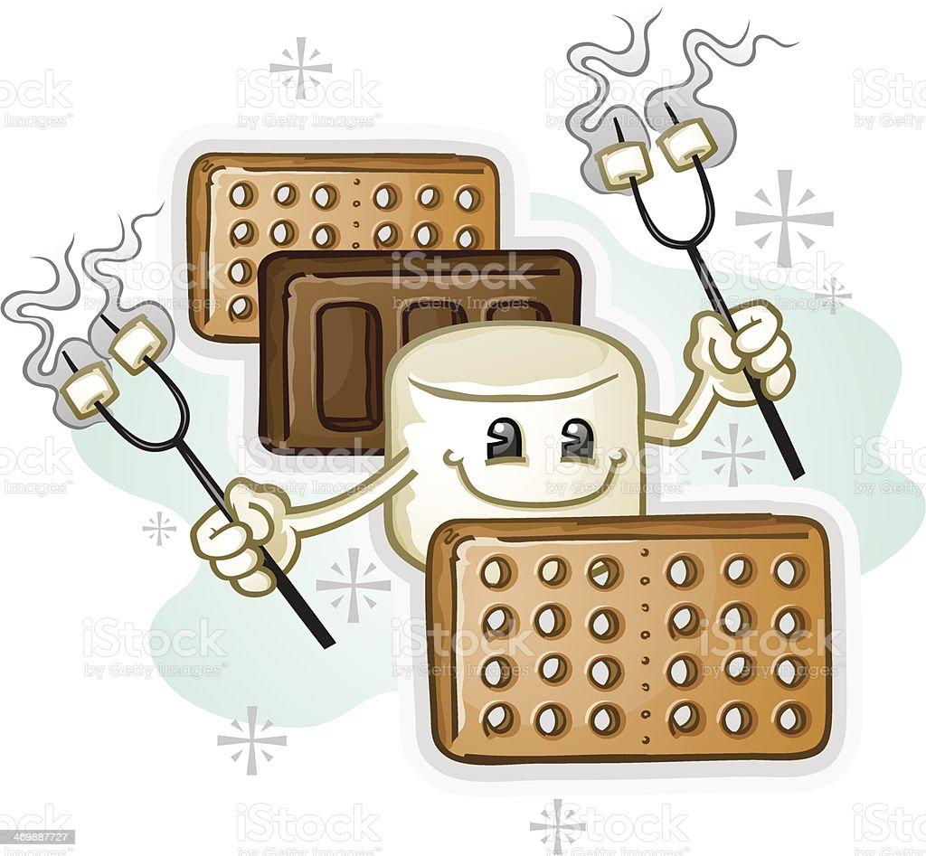 Marshmallow Smores Cartoon Character holding Roasting Sticks royalty-free stock vector art