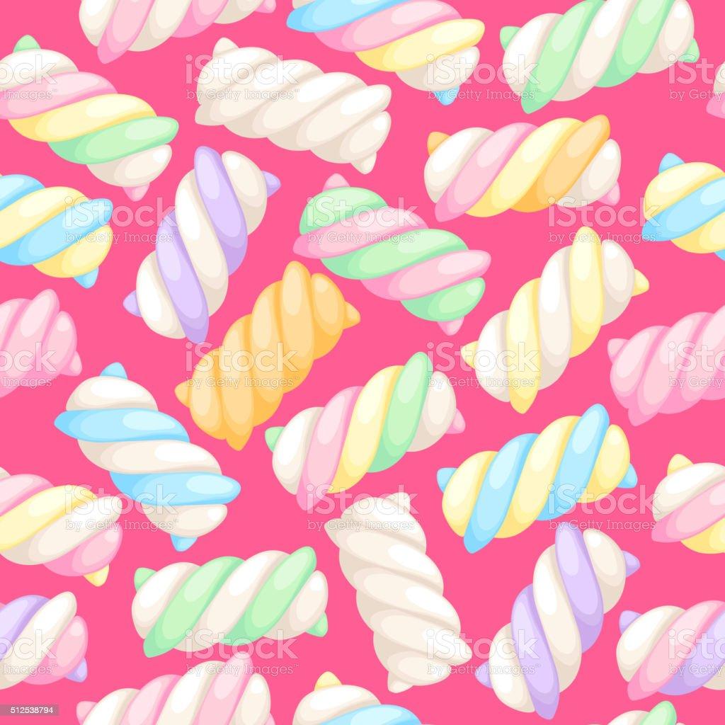 Marshmallow twists seamless pattern vector illustration vector art illustration