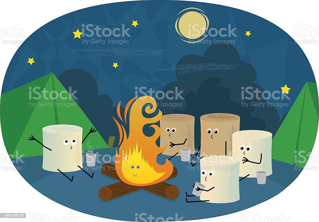 Marshmallows Camping vector art illustration