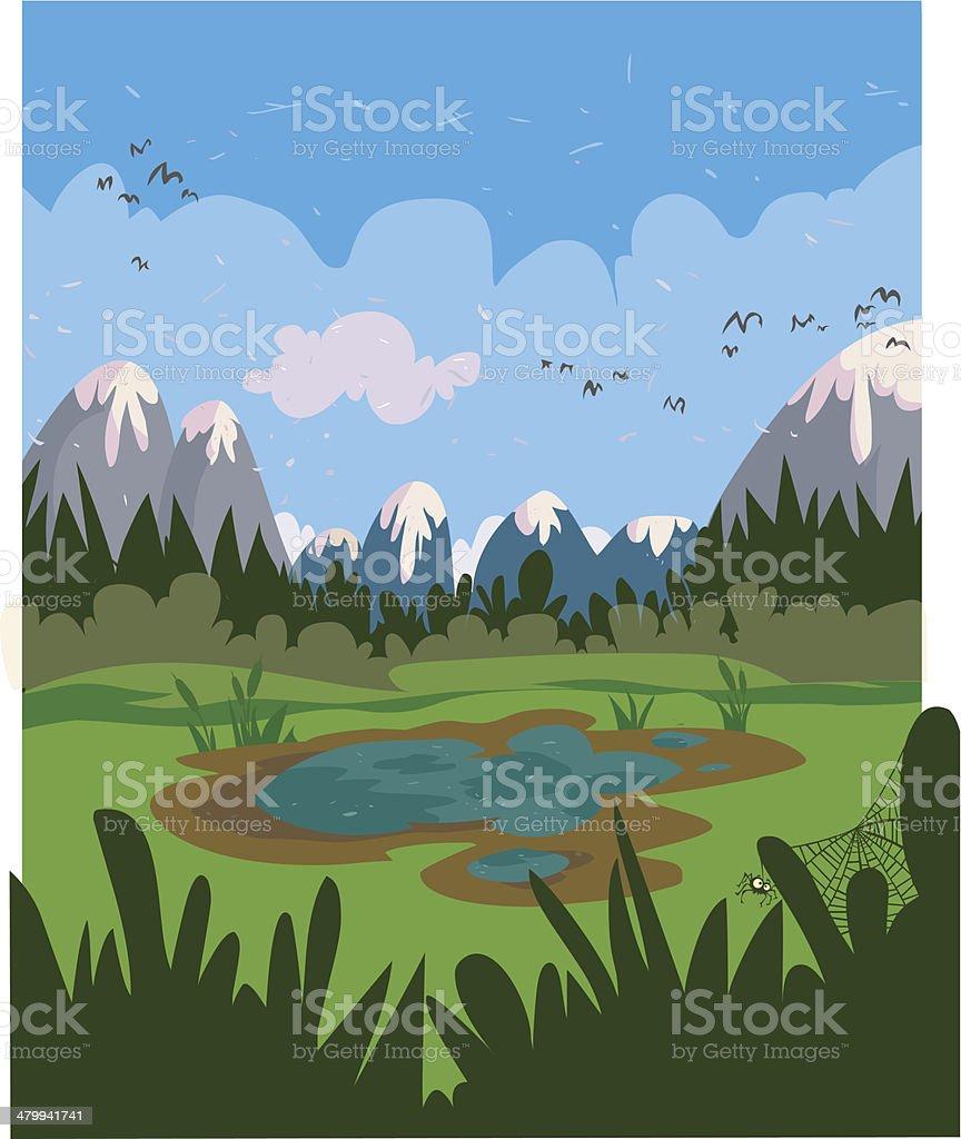 Marshy cartoon landscape. vector art illustration