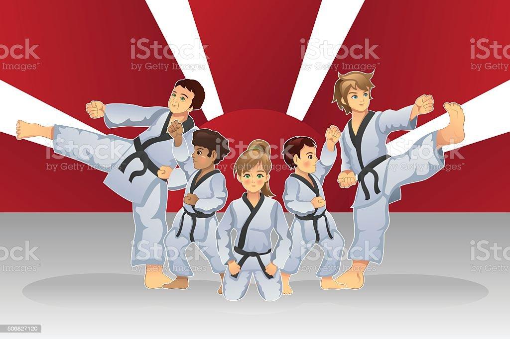 Martial Art Banner vector art illustration