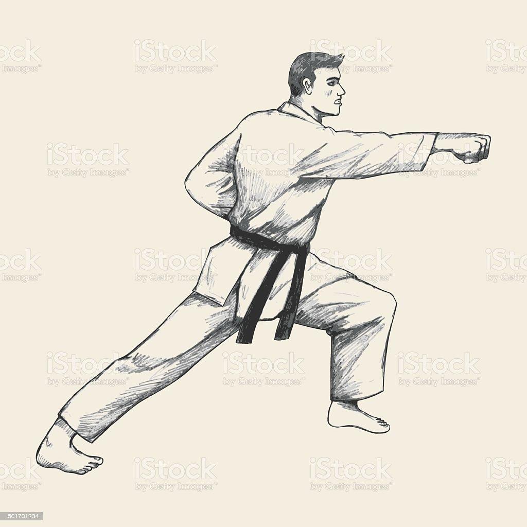 Martial Artist vector art illustration