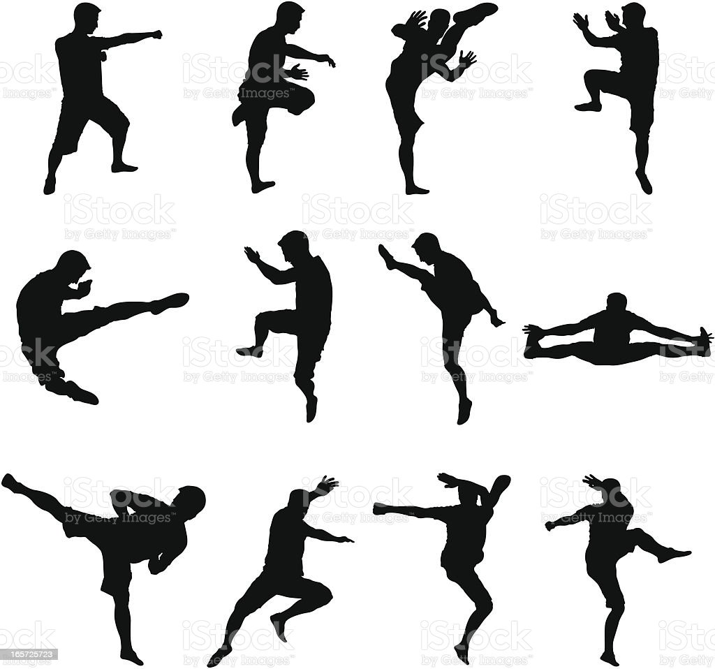 Martial Arts and Sport Black Silhouettes royalty-free stock vector art