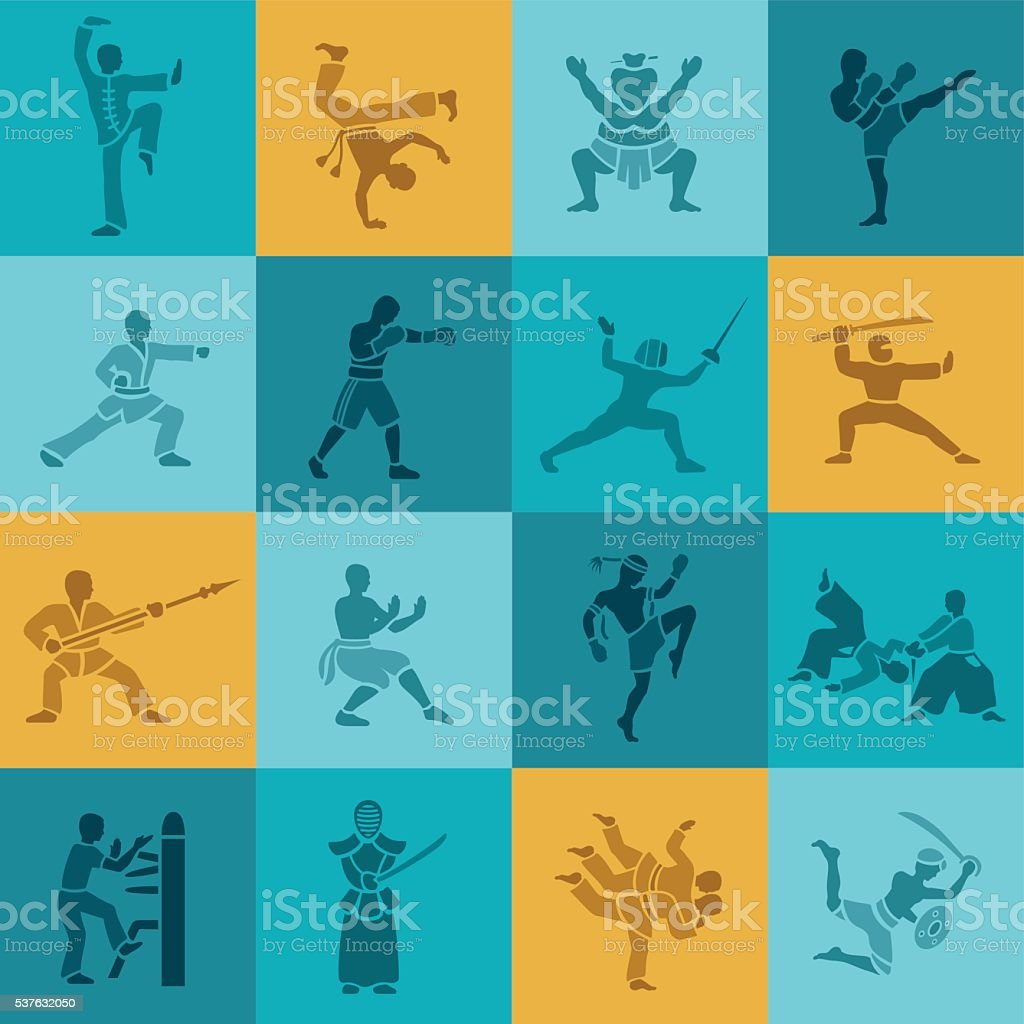 Martial Arts Icon Set vector art illustration