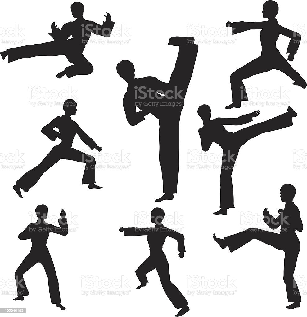 Martial Arts Silhouette Collection royalty-free stock vector art