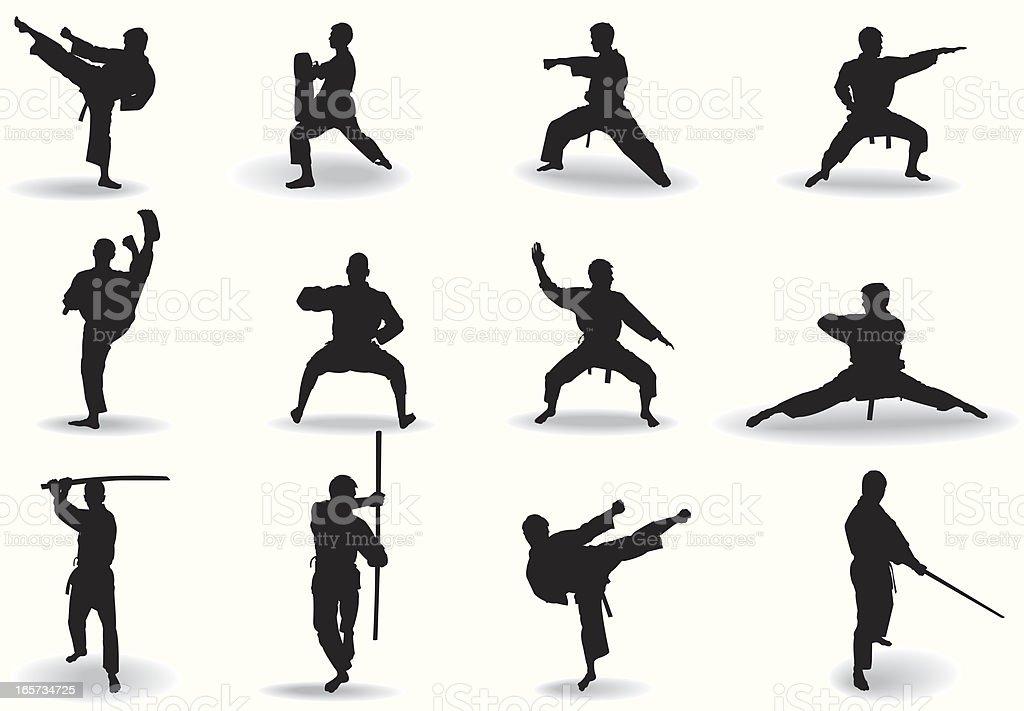 Martial exercise vector art illustration