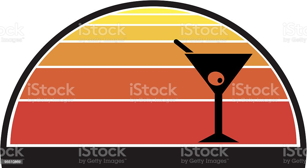 Martini against a summer sunset royalty-free stock vector art