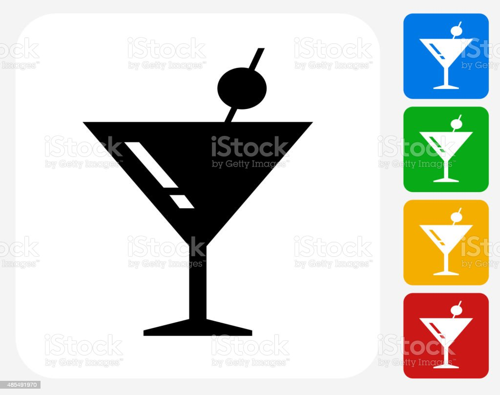 Martini Cocktail Icon Flat Graphic Design vector art illustration