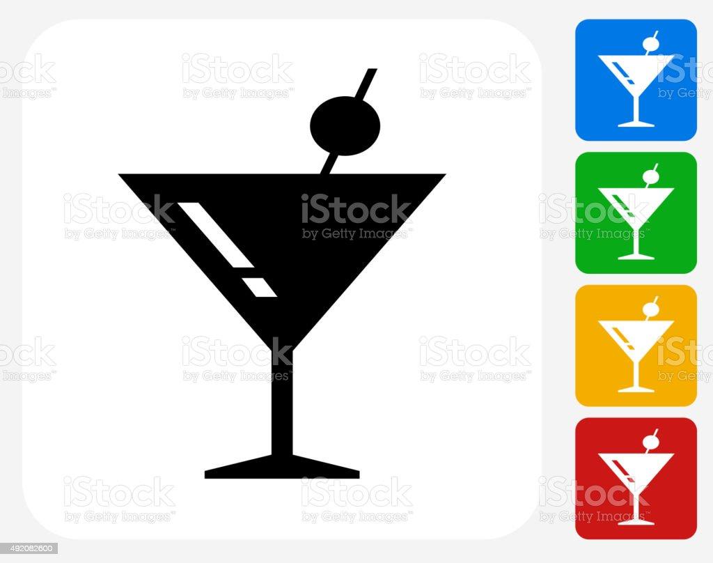 Martini Cocktail Icon Flat Graphic Design vector art illustration
