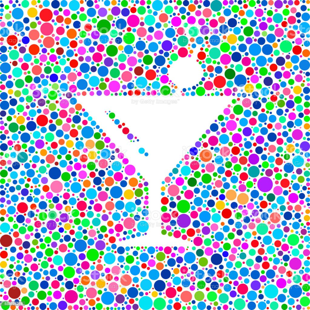 Martini Cocktail Icon on Color Circle Background Pattern vector art illustration