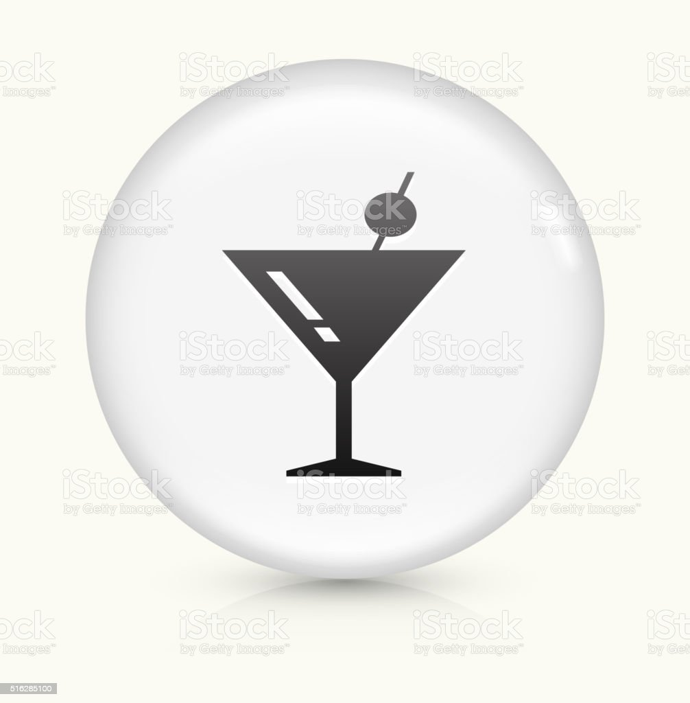 Martini Cocktail icon on white round vector button vector art illustration
