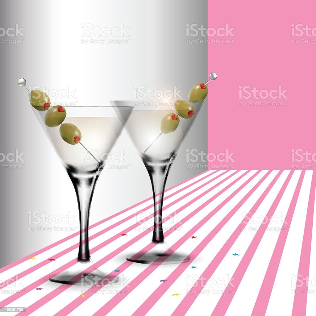 Martini cocktail in a glass with olive vector art illustration