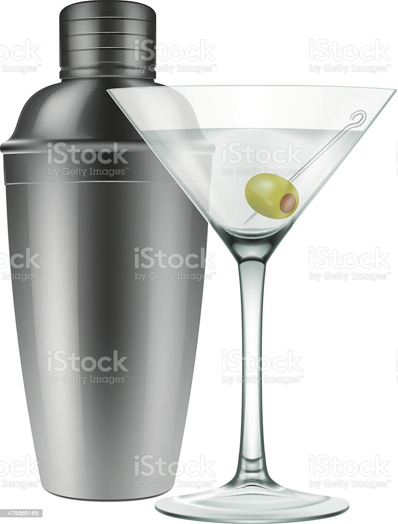 Martini glass and a cocktail shaker vector art illustration