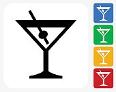 Martini Glass Icon Flat Graphic Design