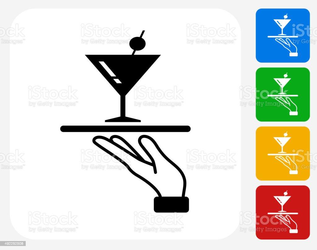 Martini Glass Icon Flat Graphic Design vector art illustration