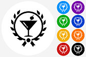 Martini Glass Icon on Flat Color Circle Buttons