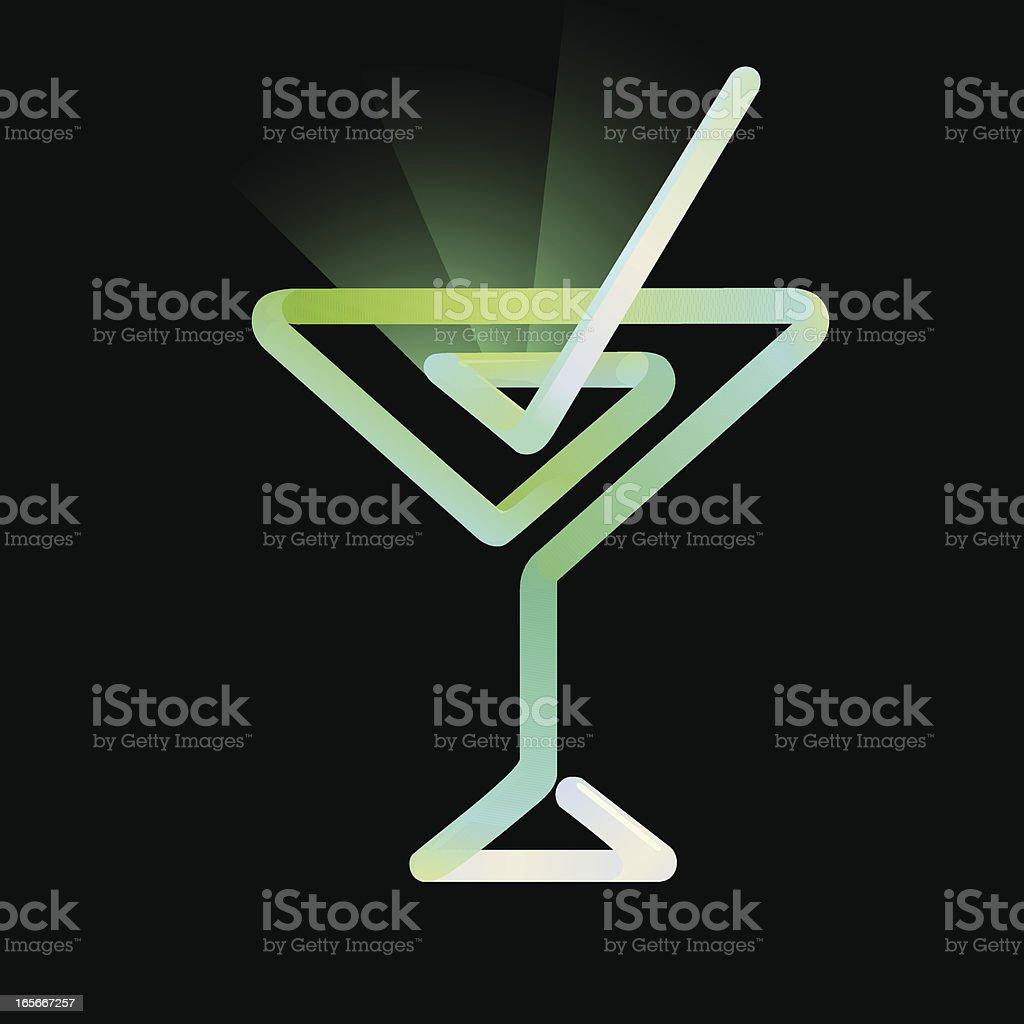 Martini Glass -Neon Glow royalty-free stock vector art