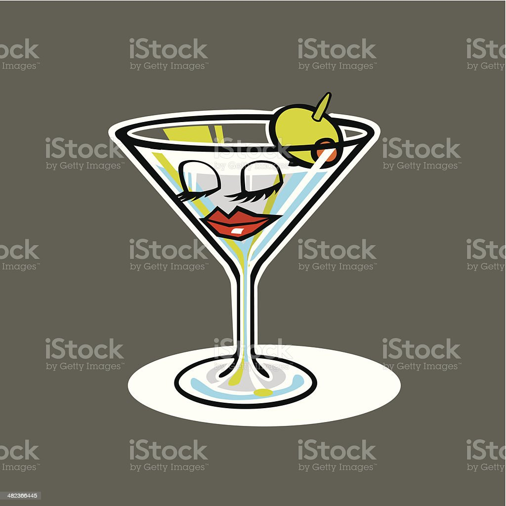 Martini Glass with Face royalty-free stock vector art