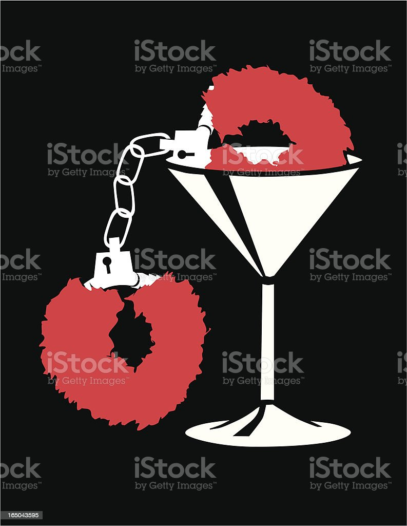 Martini glass with Fuzzy Handcuffs vector art illustration