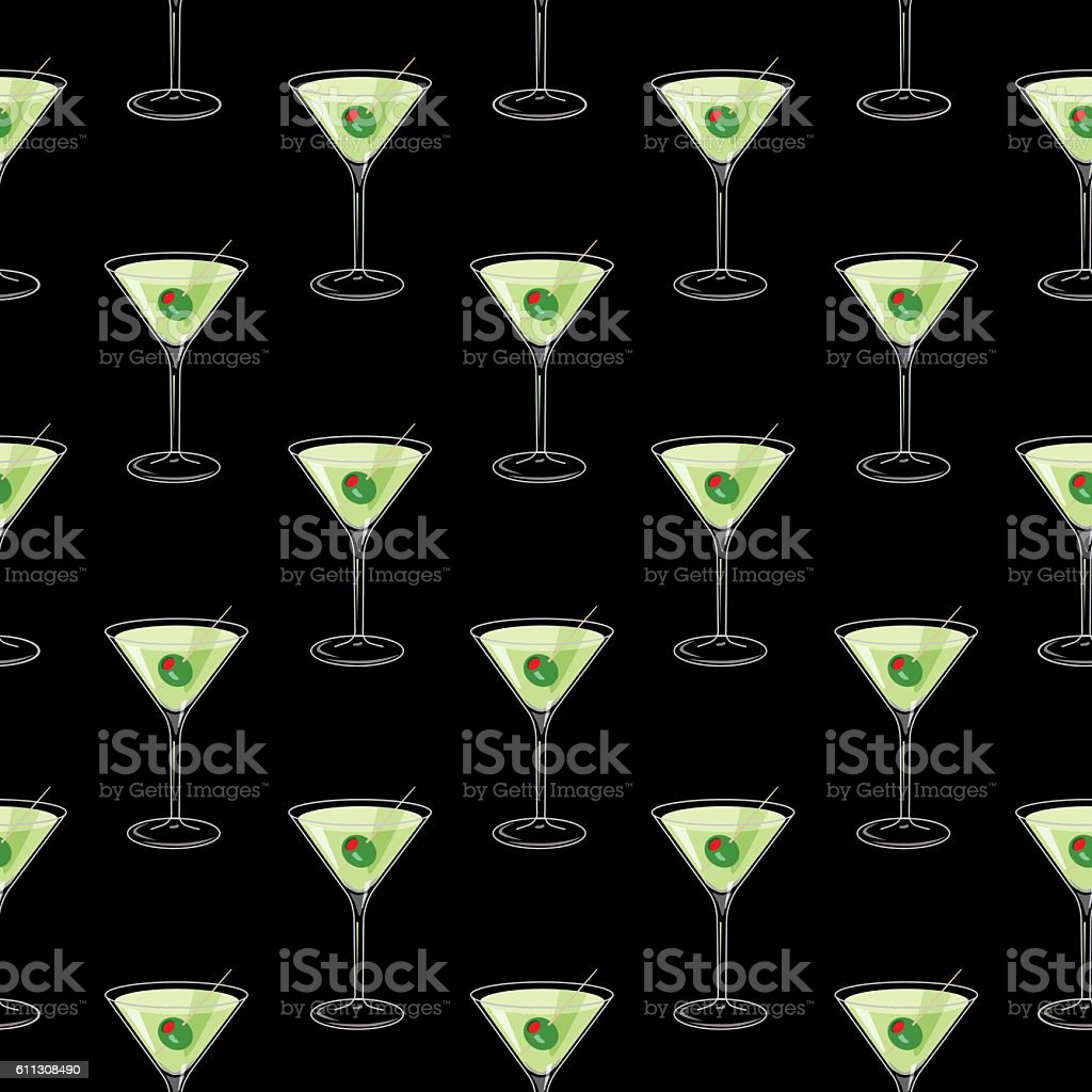 Martini Glasses Seamless Pattern vector art illustration