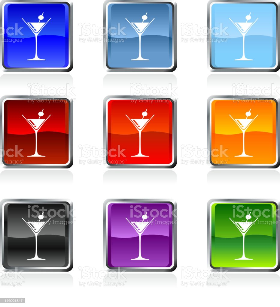 martini icon in nine colors royalty-free stock vector art