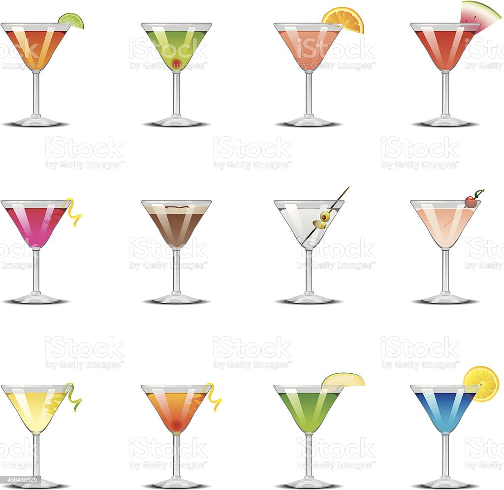 Martini Icons vector art illustration