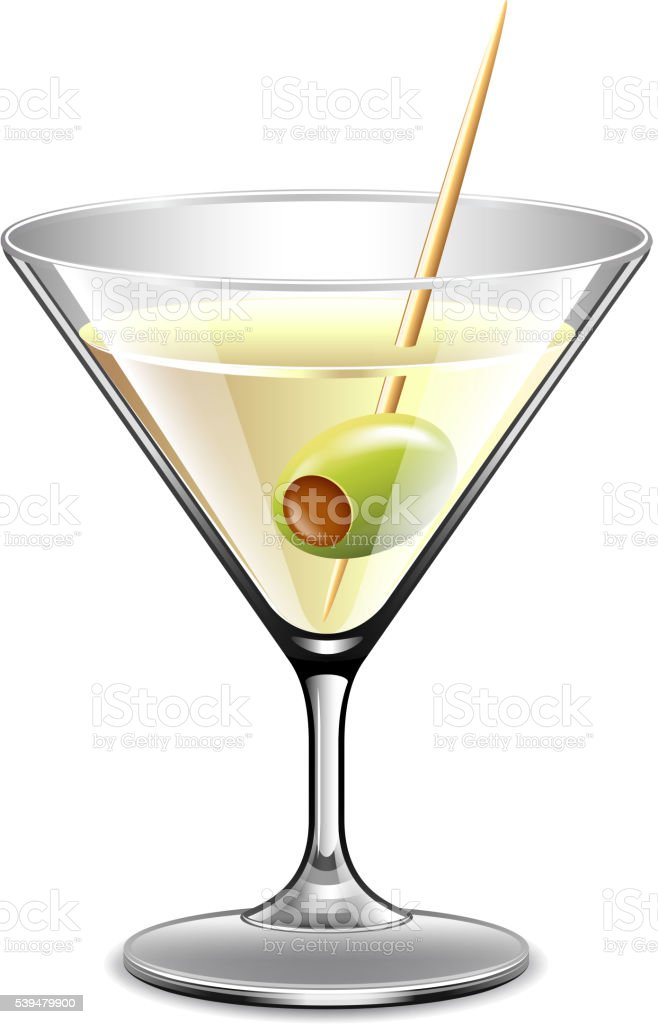Martini in glass isolated on white vector vector art illustration
