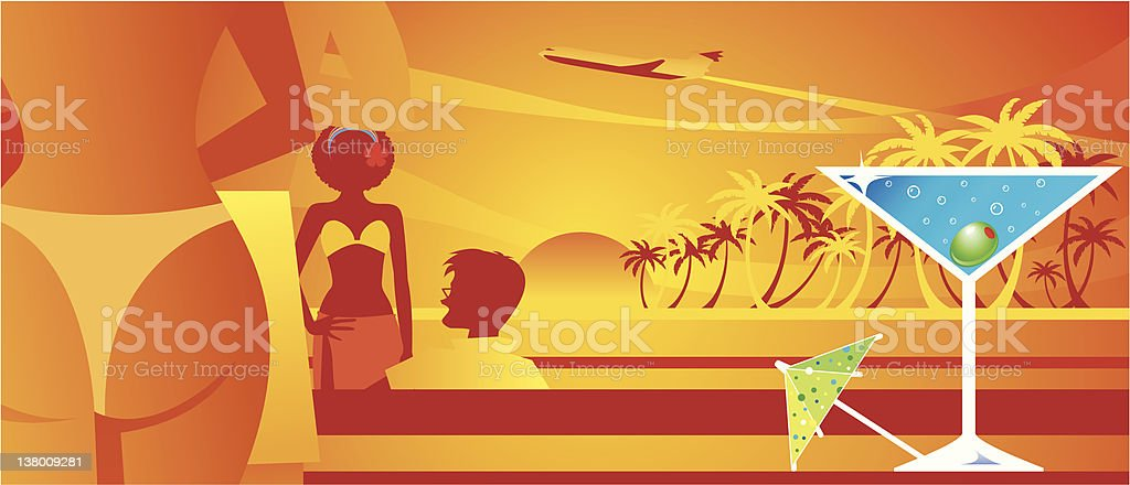 Martini Time - SunSet Beach royalty-free stock vector art