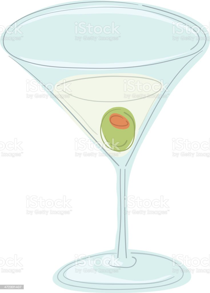 Martini with Olive royalty-free stock vector art