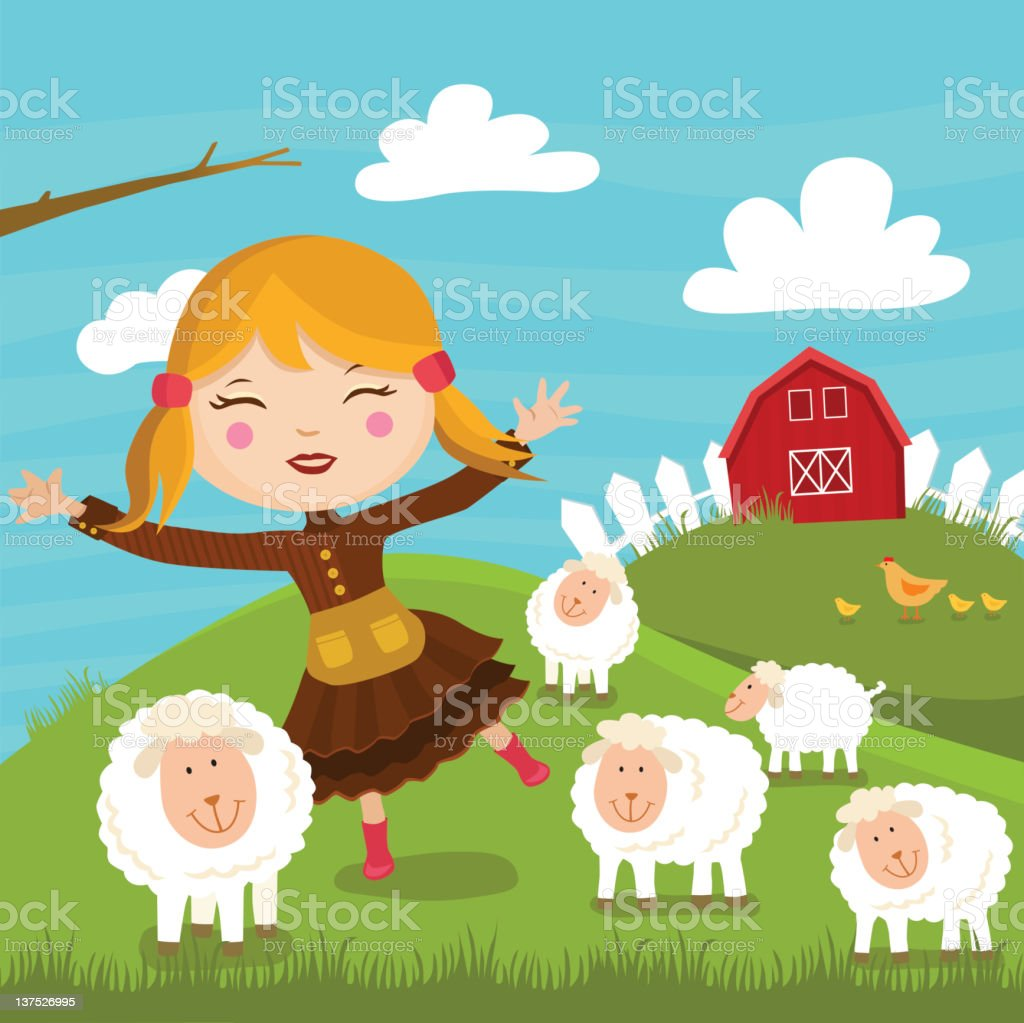 Mary and Her Lambs vector art illustration