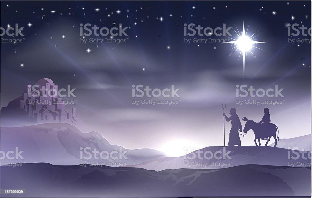 Mary and Joseph Nativity Christmas Illustration royalty-free stock vector art