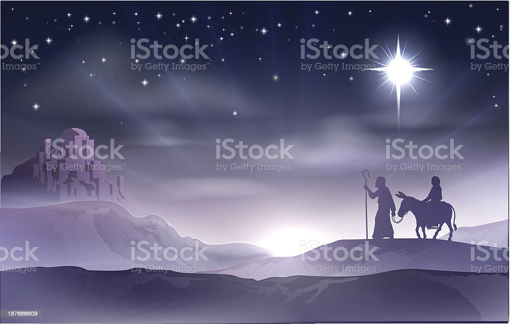 Mary and Joseph Nativity Christmas Illustration vector art illustration
