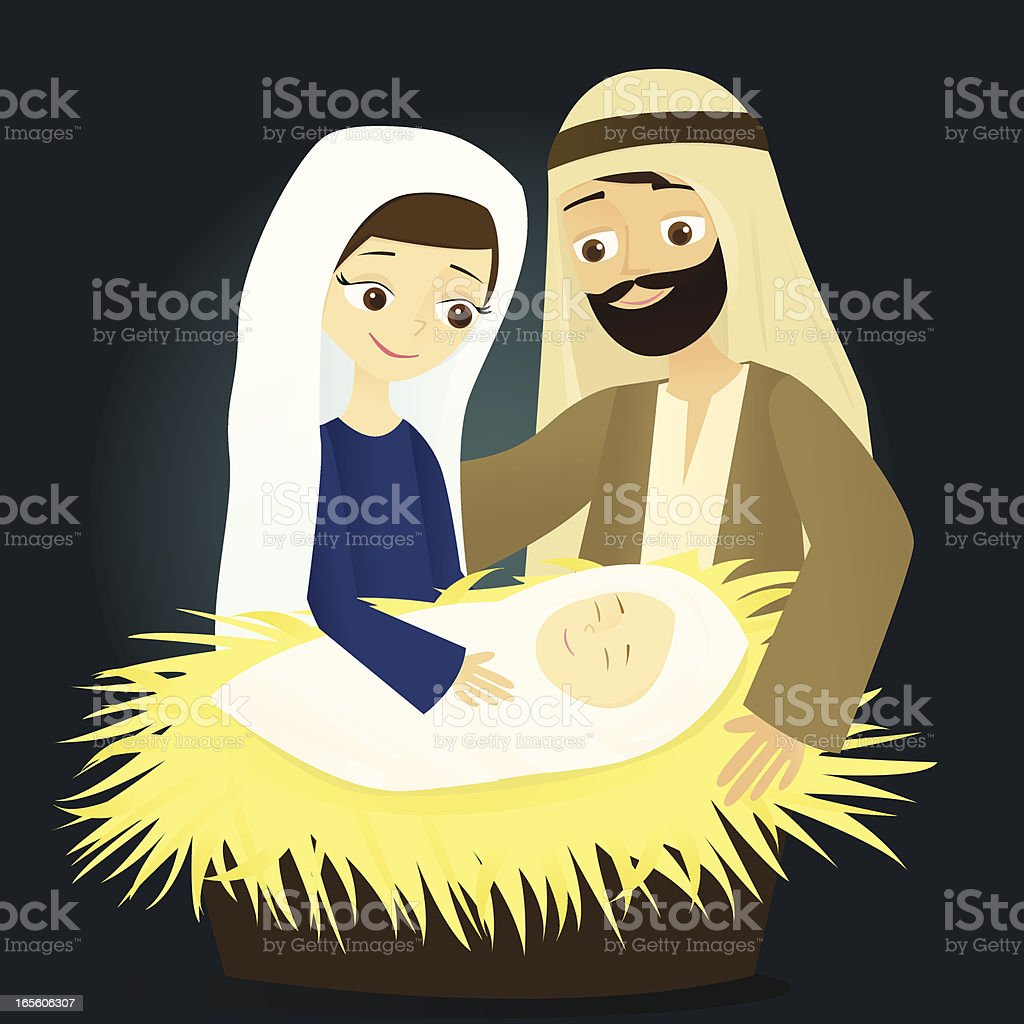 Mary, Joseph, and Baby Jesus vector art illustration