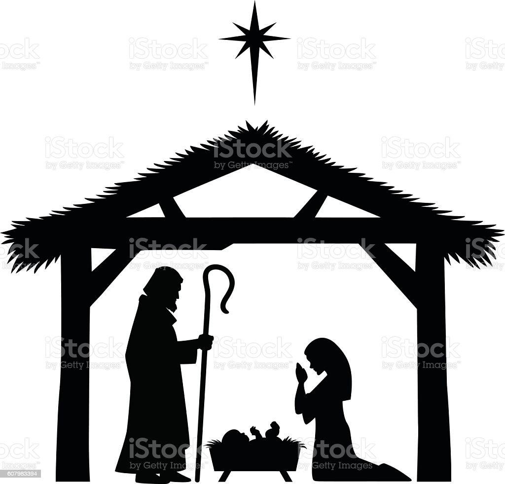 Mary, Joseph and Jesus silhouette vector art illustration
