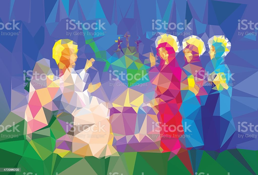 Mary Magdalene  near enty tomb vector art illustration