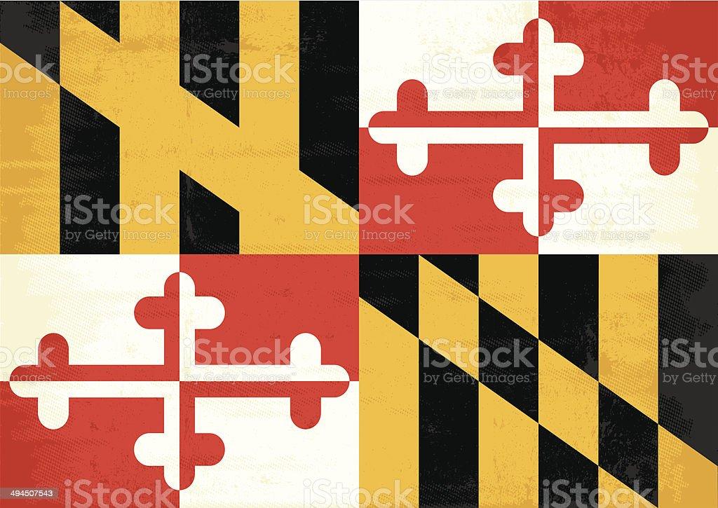 Maryland grunge flag vector art illustration