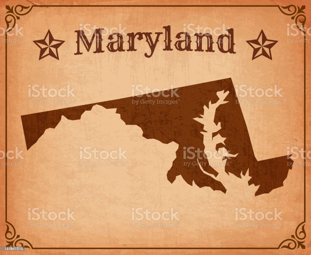 Maryland Grunge Map with Frame royalty-free stock vector art