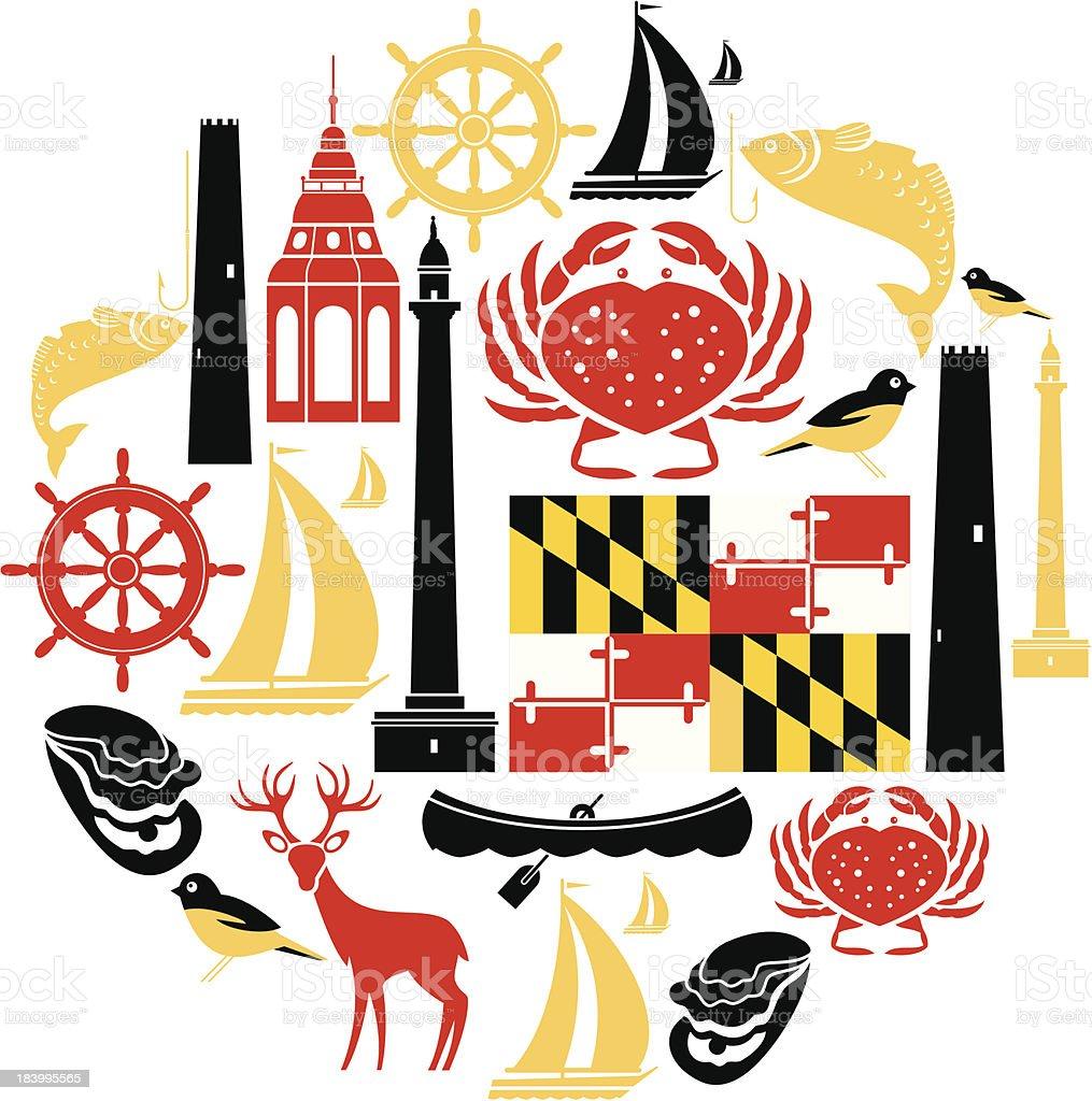 Maryland Icon Set vector art illustration