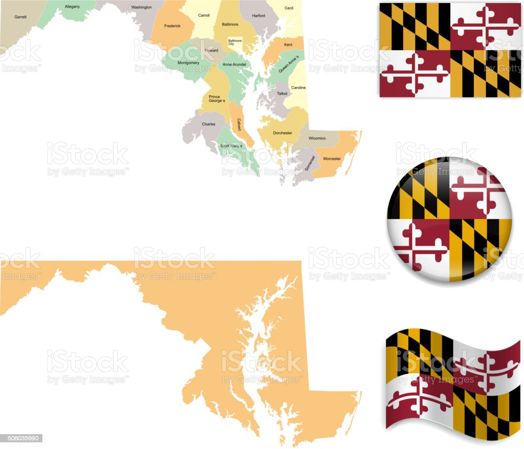 Maryland Map and Flag Collection vector art illustration
