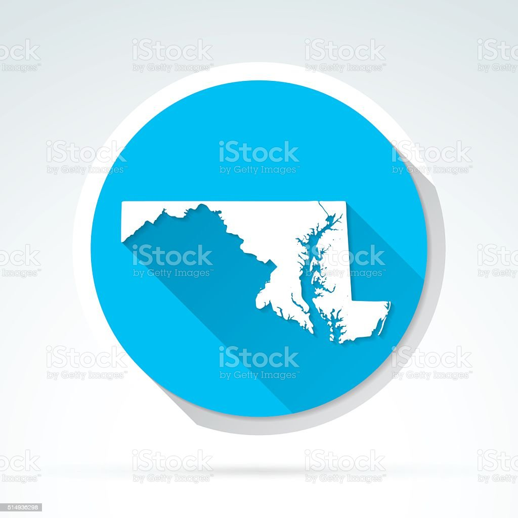 Maryland map icon, Flat Design, Long Shadow vector art illustration