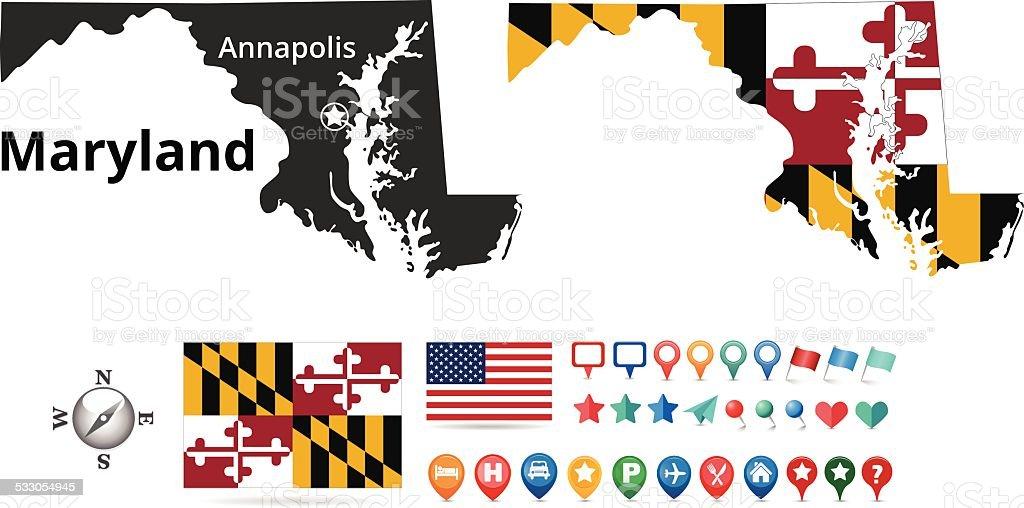 Maryland Map Kit vector art illustration