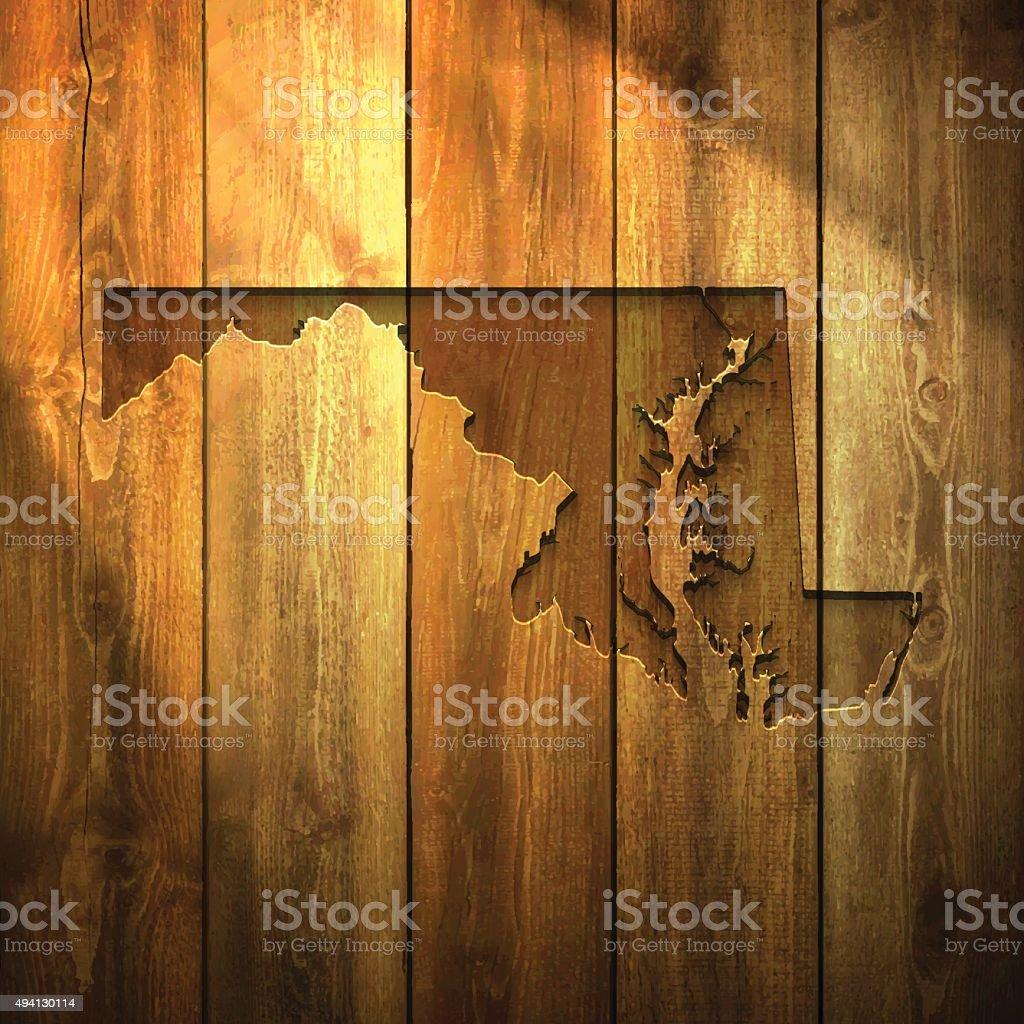 Maryland Map on lit Wooden Background vector art illustration