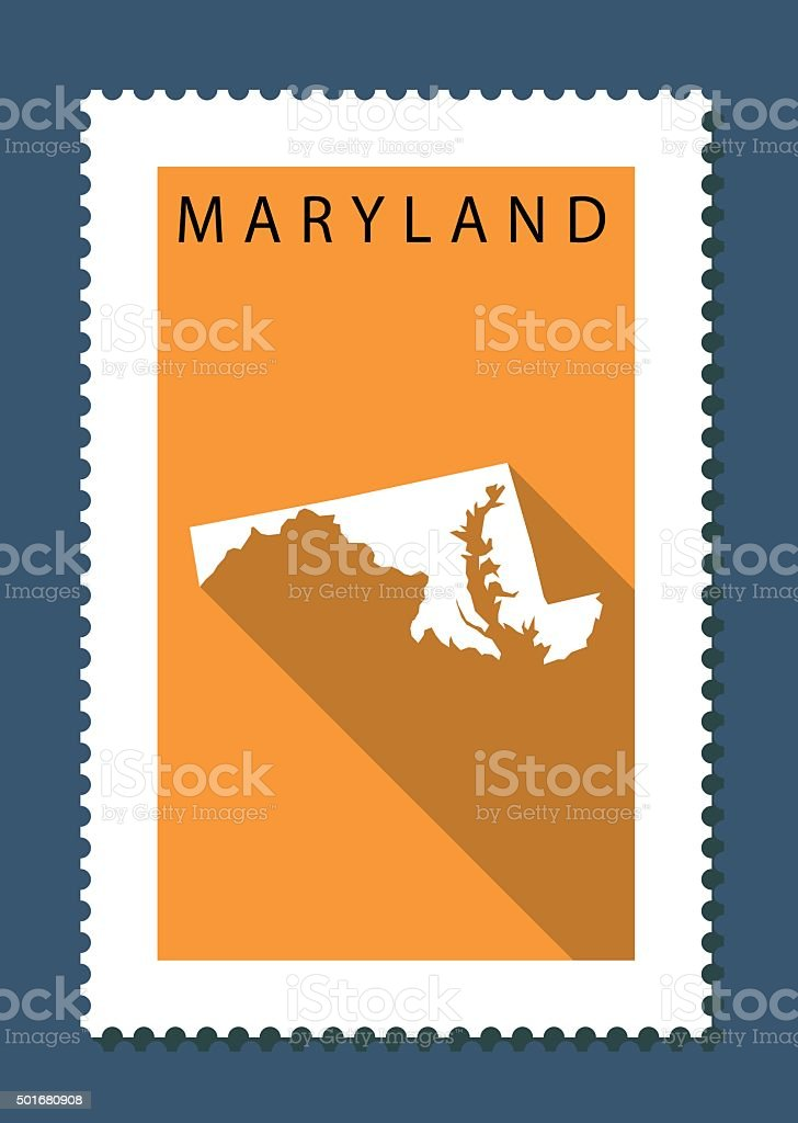 Maryland Map on Orange Background, Long Shadow, Flat Design,stamp vector art illustration