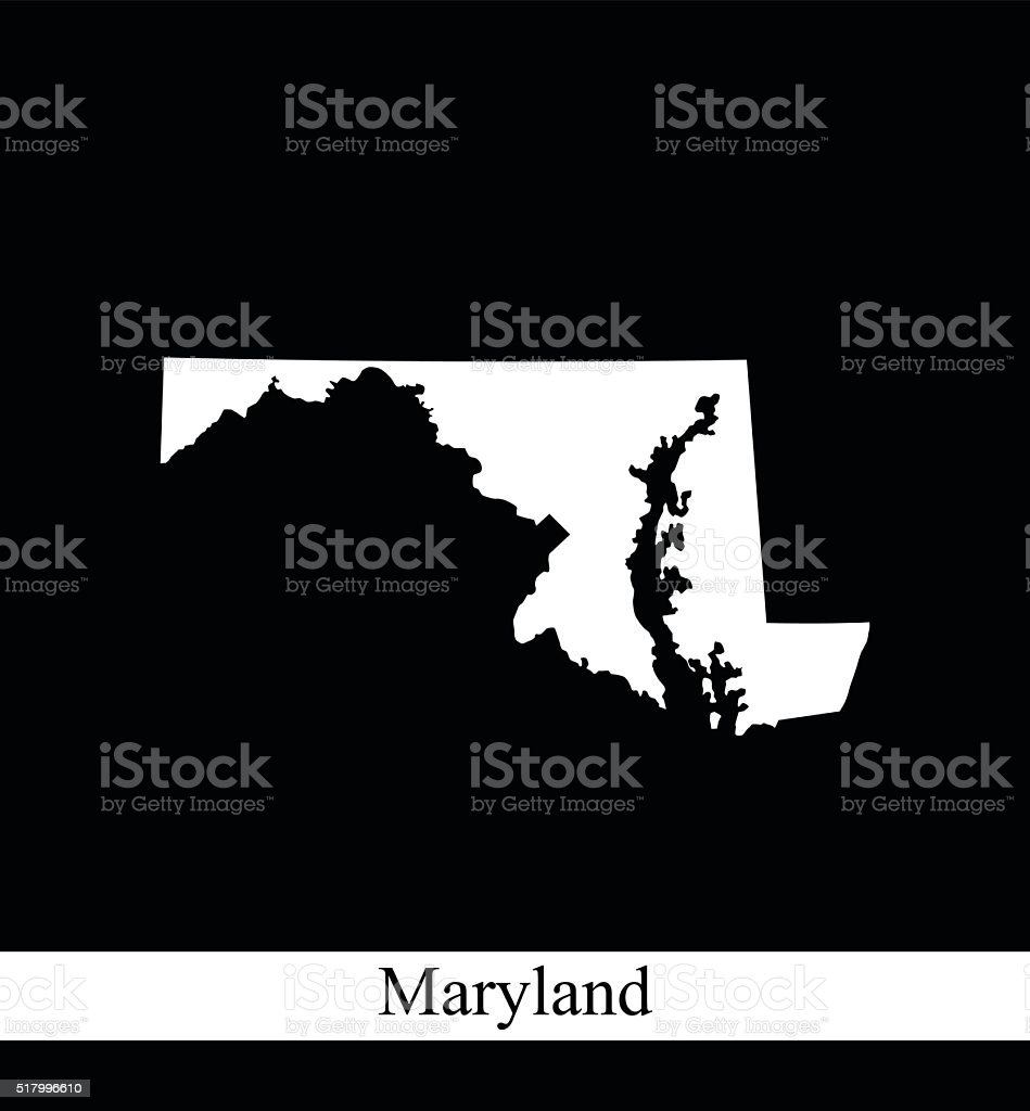 Maryland map outline vector printable in black and white background vector art illustration